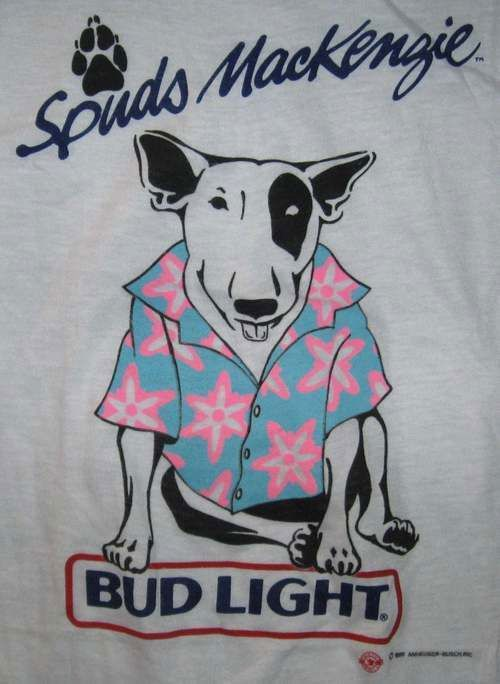 Spuds MacKenzie T-Shirt 1986-Bud Light Beer