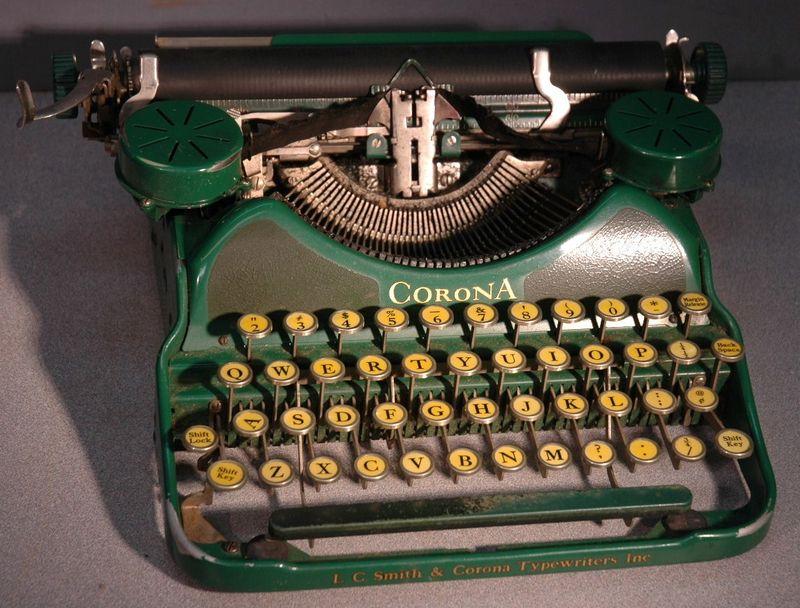 Vintage Green Corona Typewriter