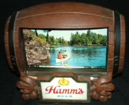 Vintage Hamm's Motion Barrel Bar Flip Lighted Sign