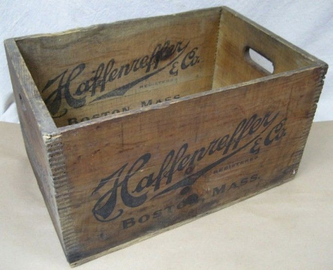 Vintage Haffenreffer Beer Wood Box Crate 6 Side Logo/1928