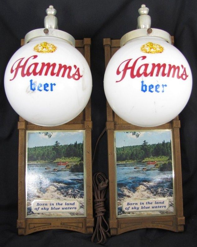 Vintage Hamm's Beer Advertising Lamp Set 1970s