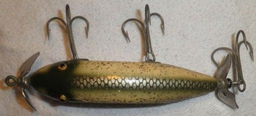 Vintage Heddon Injured Minnow Lure Green-White Scale w/Sparkle
