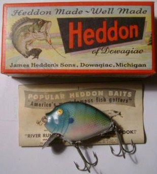 Vintage Heddon Pumpkinseed Spook blue Gill Fishing Lure w/Box