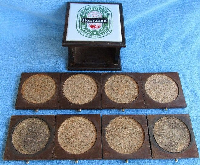 Vintage Heineken Wood Beer Coasters