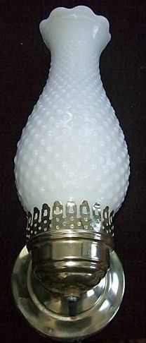 Vintage Fenton Hobnail Milk Glass Hurricane Wall Lamp
