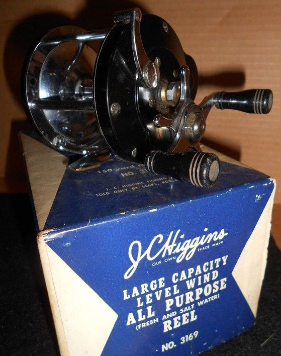 Vintage JC Higgins Level Wind Fishing Reel w/Original Box