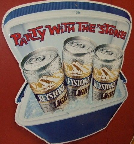 Vintage Keystone Light Beer Tin Tacker Ad Sign