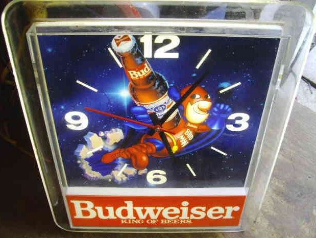 Vintage Lighted Bud Man Budweiser Wall Clock