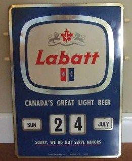 Vintage Labatt Light Beer Bar Calendar