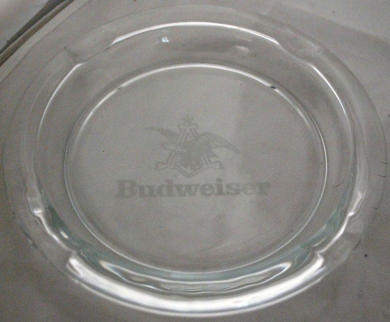 Vintage Large Budweiser Ashtray 8 inch Acid Etched Logo