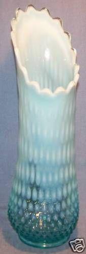 Vintage Large Fenton Blue Opalescent Hobnail Vase