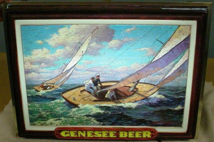 Vintage Lighted Genesee Beer Sail Boat Bar Sign