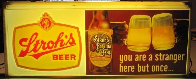 Vintage Lighted Strohs Beer Sign 1950s-Early 1960s