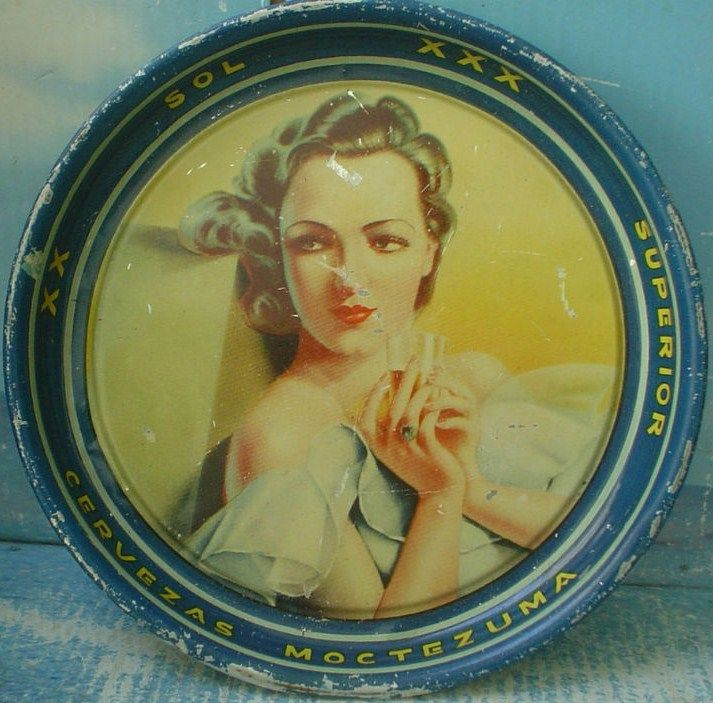 Vintage Mini Tin Tray XX SOL XXX Superior Beer 1950s