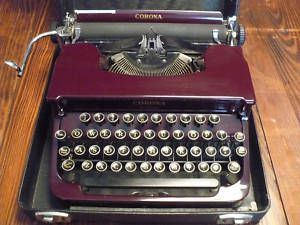 Manual Sterling Smith Corona Typewriter Deep Maroon