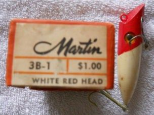 Vintage Martin White Red Head Fishing Lure 3B-1 w/box