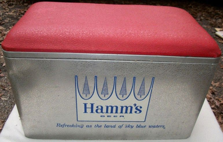 Vintage Metal Hamms Beer Cooler 1950s