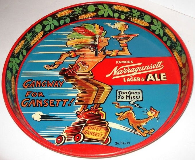 Vintage Narragansett Lager & Ale Dr. Suess Metal Beer Tray