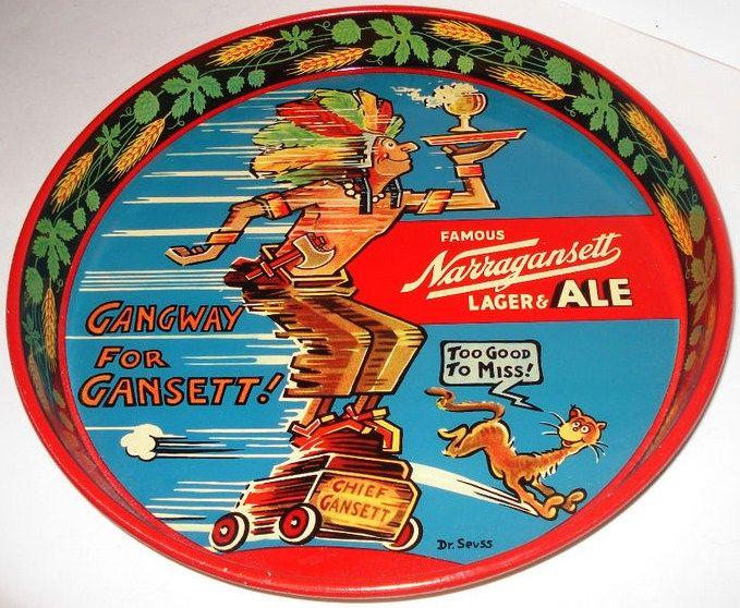 Vintage Narragansett Lager & Ale Dr. Suess Metal Beer Tray