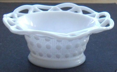 Vintage Opaque White Milk Glass Lace Edge Bowl