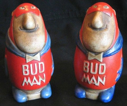 Original 70s Bud Man Salt & Pepper Shakers