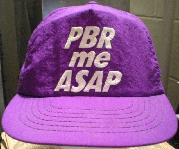 Vintage Pabst Blue Ribbon Beer Hat - PBR Me ASAP - Purple