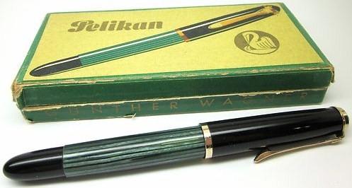 Vintage Pelikan 400NN Fountain Pen Green Striated 14K 585 KF Nib w/original Box