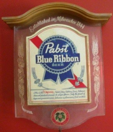 Vintage Pabst Blue Ribbon Beer Lighted Sign 1981