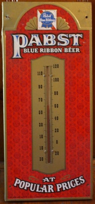 Vintage Pabst Blue Ribbon Beer Tin Sign Thermometer
