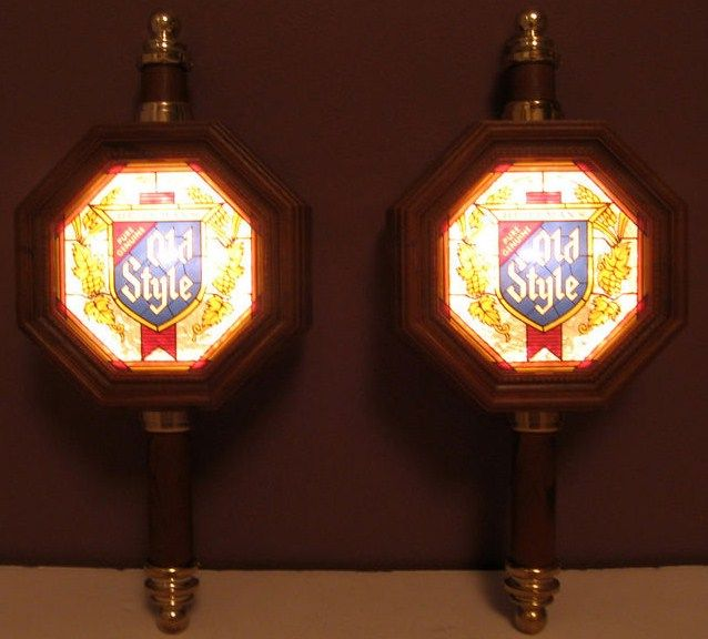 Vintage Pair of Old Style Lighted Beer Sign Wall Sconces