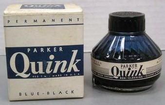 vintage Parker Quink Blue Black Round Bottle w/Box 2 oz