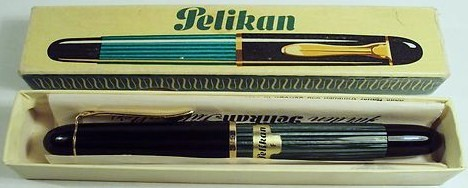 Vintage Pelikan 140 Green Striated Fountain PEn fine nib w/original box