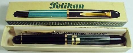 Vintage Pelikan 140 Green Striated Fountain PEn fine nib w/original box