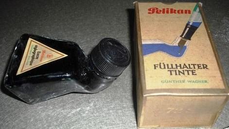 Vintage Pelikan Ink Glass Bottle Original Box