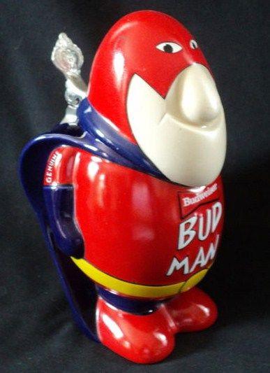 Vintage Porcelain Ceramic Budweiser Bud Man Mug Beer Stein