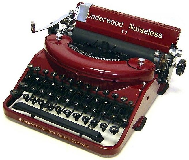 Vintage Red Underwood Noiseless Typewriter