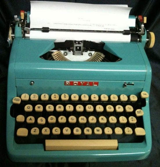 Vintage Royal Quiet Deluxe Manual Blue Typewriter