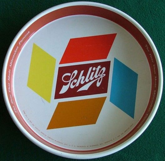 Vintage Schlitz Metal Beer Bar Tray 1955