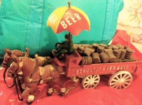 Vintage Schultz Beer Wagon Cast Iron