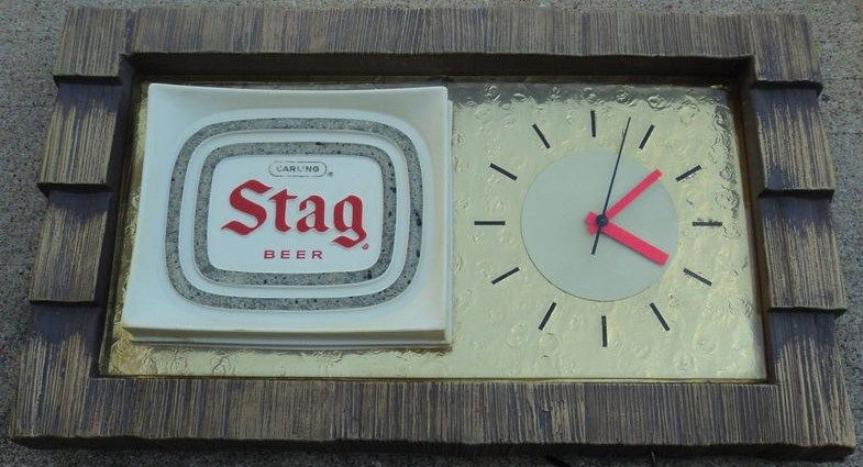 Vintage Stag Beer Clock Light