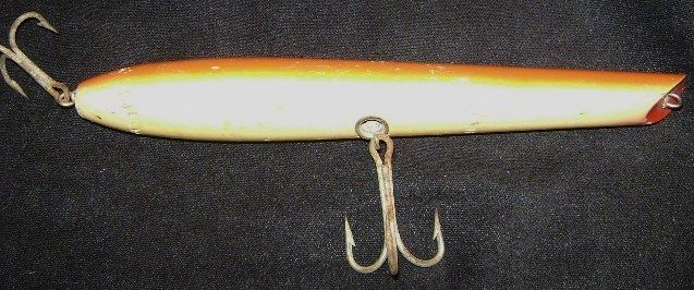 Vintage Saltwater Stan Gibbs Wood Fishing Lure Large 9 inch