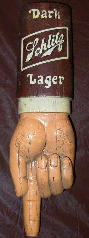 Vintage Schlitz Dark Lager Tap Handle Pull Knob Hand