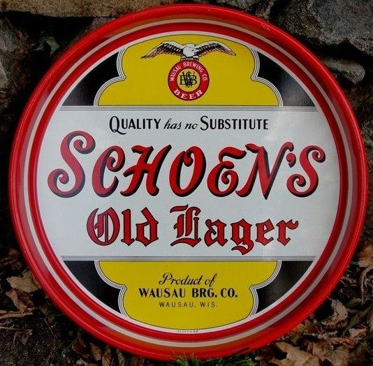 Vintage Schoens Old Lager Wausau Brewing Advertising Beer Tray