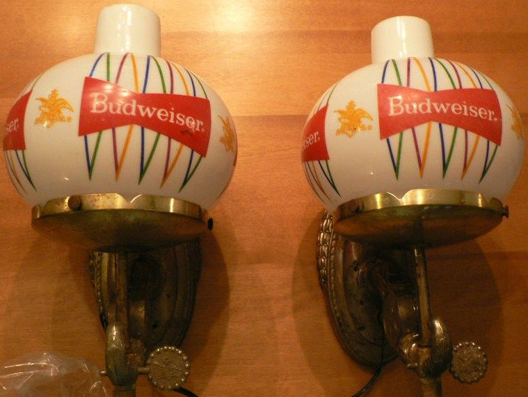 Vintage Set of 2 Budweiser Globe Lights Wall Sconce