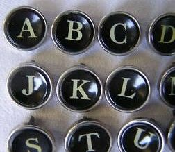 Vintage Smith Corona Typewriter Keys Black Glass Face Close Up