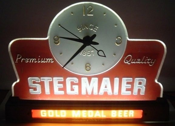 Old Stegmaier Beer Lighted Sign Clock for Tavern