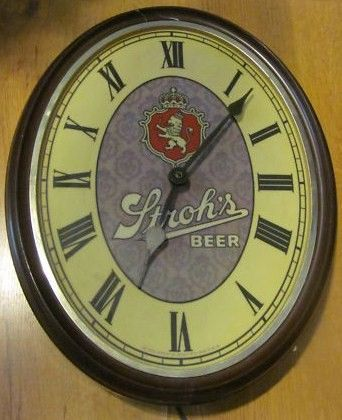 Vintage Strohs Oblong Illuminated Clock