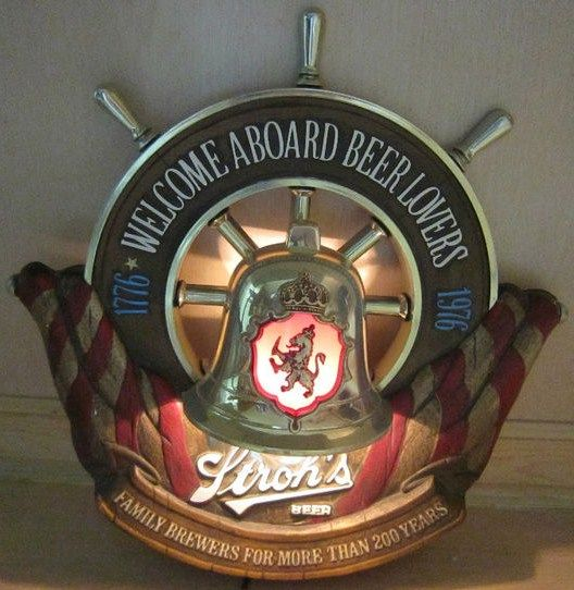 Vintage Strohs Original Lighted Beer Sign Nautical Bicentenial