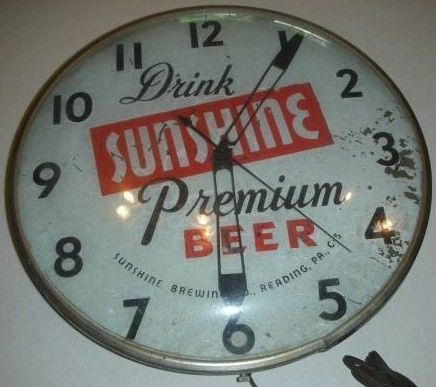 Sunshine Beer Co Reading PA Round Bar Clock