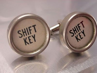 White Typewriter Key Cuff-Links